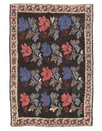 "Floral Vintage Kilim Rug - 5`11"" x 8`8"""
