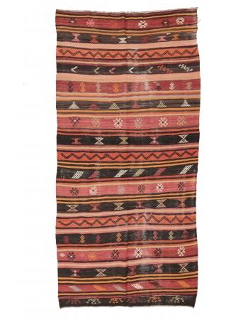 """Vintage Embroidered Kilim Rug - 5`8"""" x 10`10"""""""