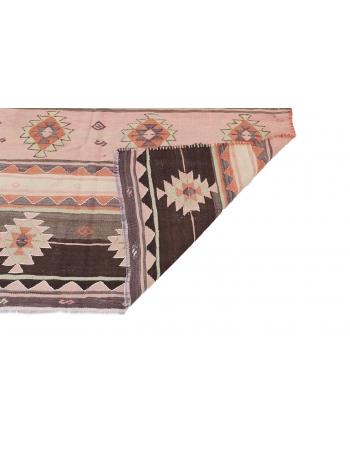 "Vintage Handwoven Turkish Kilim Rug - 5`1"" x 8`8"""