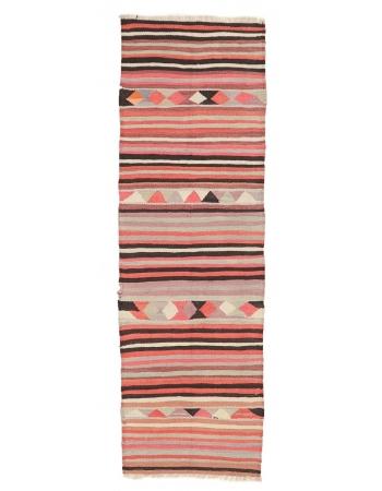 "Striped Colorful Vintage Kilim Runner - 2`11"" x 9`2"""