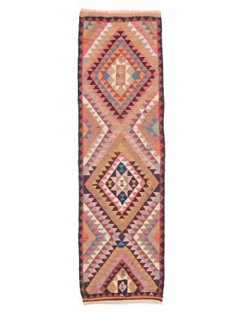 "Colorful Vintage Kilim Runner - 3`3"" x 11`0"""