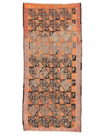 """Vintage Decorative Turkish Kilim Rug - 4`11"""" x 10`0"""""""