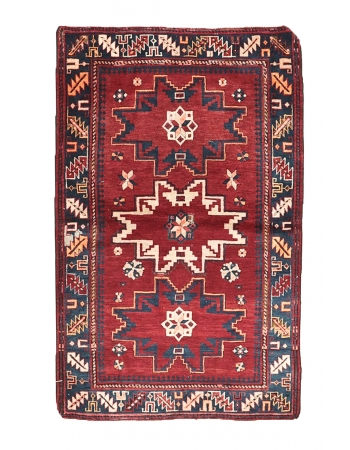"Red & Blue Vintage Caucasian Rug - 3`3"" x 4`11"""