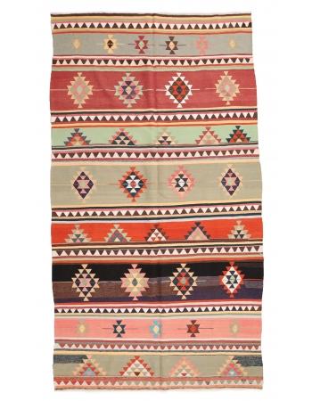 """Vintage Decorative Turkish Kilim Rug - 6`0"""" x 11`4"""""""