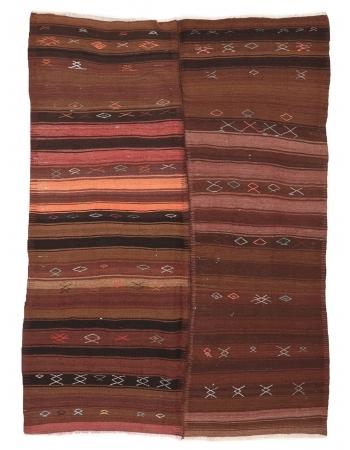 "Striped Vintage Turkish Kilim Rug - 6`4"" x 9`0"""