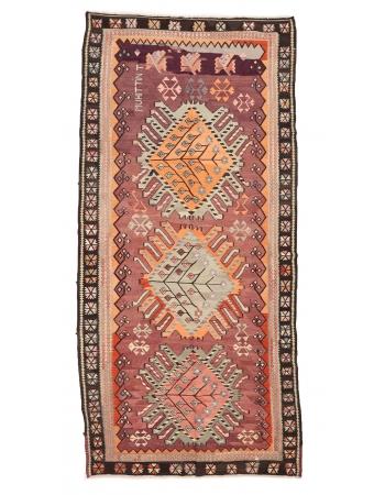 """Decorative Turkish Kars Kilim Rug - 5`7"""" x 11`10"""""""