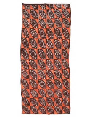 """Orange & Brown Vintage Kilim Rug - 4`11"""" x 11`10"""""""