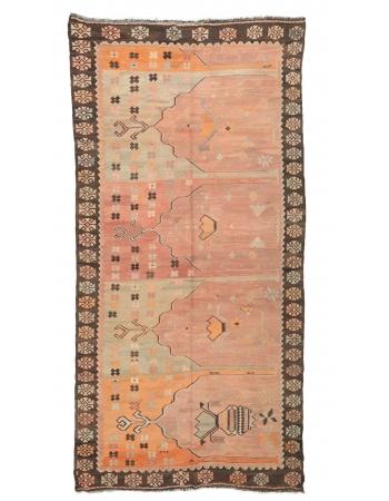 """Vintage Pastel Turkish Kars Kilim Rug - 5`4"""" x 10`11"""""""
