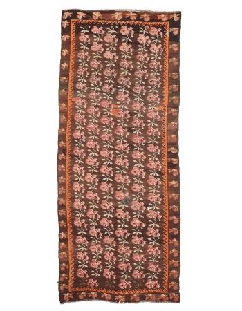 """Floral Vintage Decorative Kilim Rug - 5`6"""" x 13`7"""""""