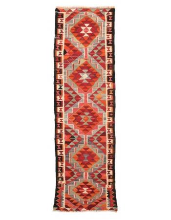 "Vintage Handwoven Kilim Runner - 2`9"" x 9`10"""
