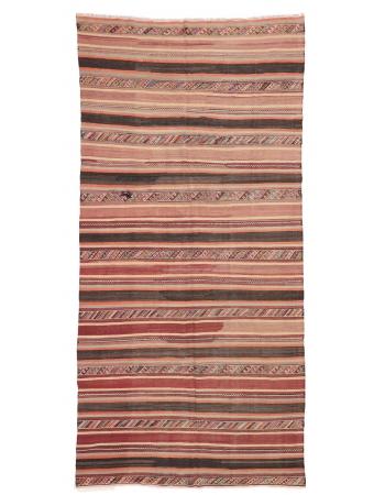 "Striped Vintage Turkish Kilim Rug - 5`7"" x 11`1"""