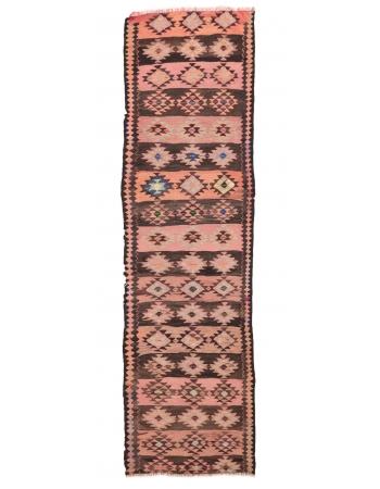 "Decorative Vintage Herki Kilim Runner - 3`7"" x 12`6"""