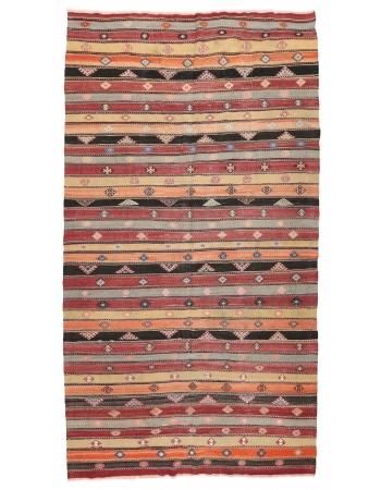 "Striped Turkish Vintage Kilim Rug - 6`8"" x 12`0"""