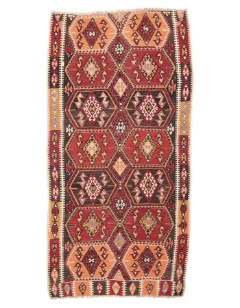 """Vintage Turkish Kaisari Kilim Rug - 5`4"""" x 10`10"""""""