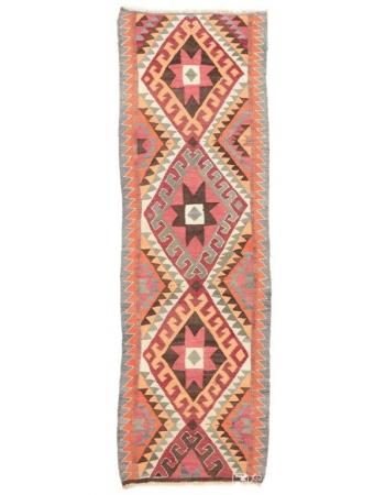 "Vintage Colorful Herki Kilim Runner - 3`2"" x 10`4"""