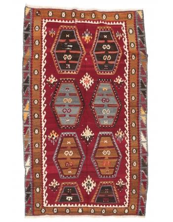 """Vintage Turkish Sivas Kilim Rug - 5`3"""" x 8`7"""""""
