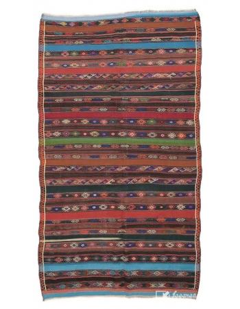 """Embroidered Vintage Kilim Rug - 6`1"""" x 11`0"""""""