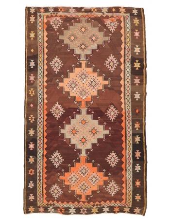 """Vintage Unique Turkish Kars Kilim Rug - 6`4"""" x 11`8"""""""