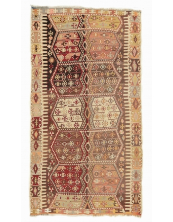 "Vintage Turkish Chorum Kilim Rug - 5`8"" x 10`2"""