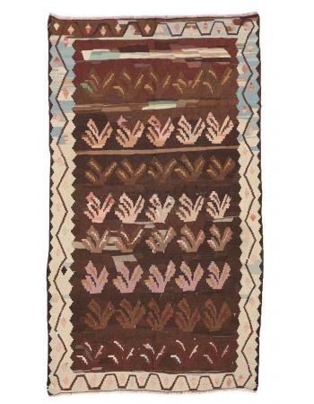 "Unique Vintage Turkish Kilim Rug - 4`10"" x 8`7"""
