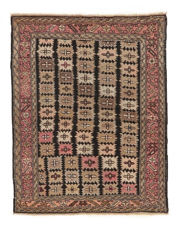 "Antique Caucasian Wool Rug - 3`6"" x 4`9"""