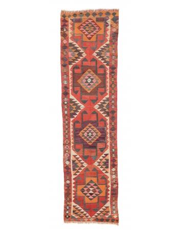 "Decorative Vintage Herki Kilim Runner - 3`5"" x 10`8"""