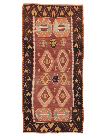 "Unique Vintage Turkish Kilim Rug - 5`8"" x 12`0"""