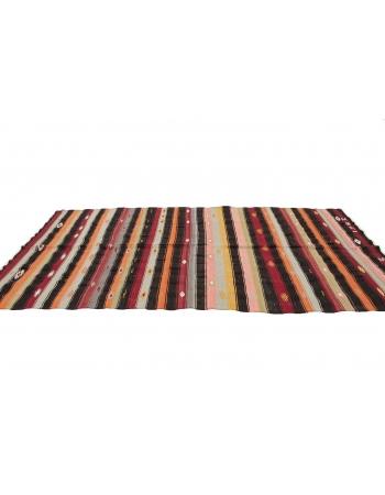 "Striped Colorful Kilim Rug - 5`2"" x 10`10"""