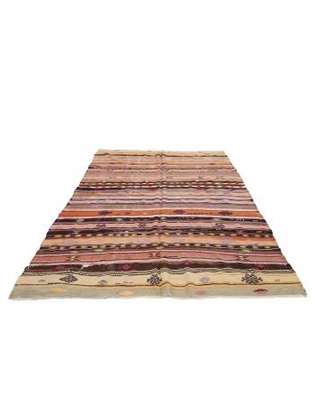 "Striped Turkish Vintage Kilim - 6`7"" x 10`8"""