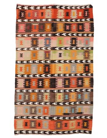 """Decorative Vintage Turkish Kilim Rug - 6`11"""" x 11`3"""""""