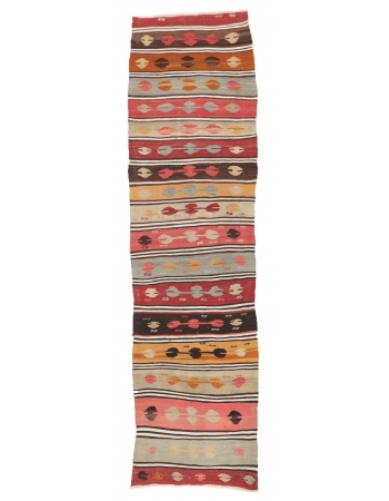 "Vintage Turkish Kilim Runner - 2`9"" x 9`11"""