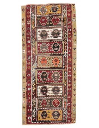 "Unique Vintage Turkish Kilim Rug - 5`1"" x 11`10"""
