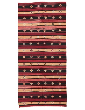 "Vintage Striped Turkish Kilim Rug - 5`10"" x 11`5"""