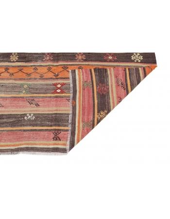 """Vintage Embroidered Kilim Rug - 5`7"""" x 10`1"""""""