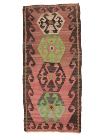 "One of a Kind Vintage Kilim Rug - 5`3"" x 11`4"""