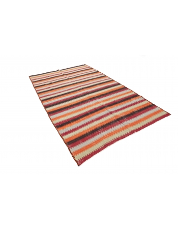 "Striped Vintage Kilim Runner - 5`10"" x 9`4"""