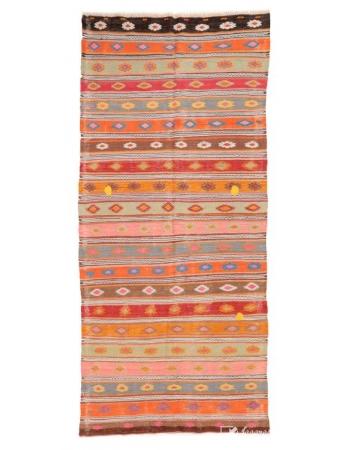 """Vintage Turkish Decorative Kilim Rug - 4`4"""" x 10`2"""""""