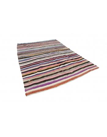 "Colorful Striped Vintage Rag Rug - 6`11"" x 9`10"""