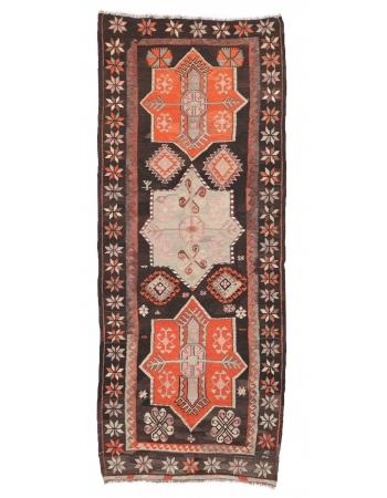 "Vintage Handwoven Turkish Kilim Rug - 4`4"" x 10`11"""