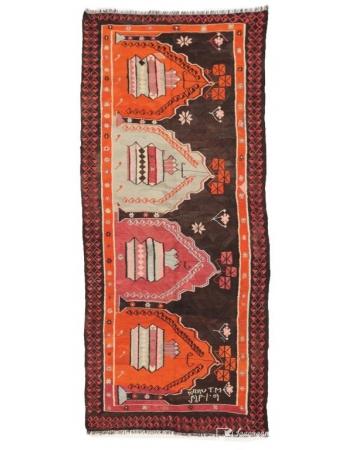 """Vintage Unique Turkish Kars Kilim Rug - 4`6"""" x 10`7"""""""
