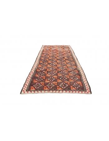 "Handwoven Vintage Turkish Kilim Rug - 4`11"" x 9`7"""
