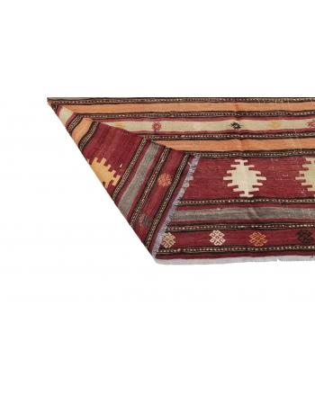 "Vintage Handwoven Turkish Kilim Rug - 5`11"" x 9`2"""