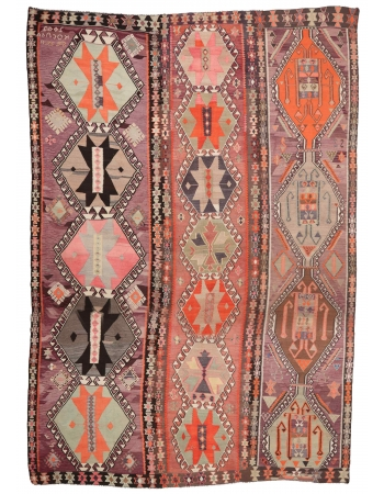"Oversized Unique Vintage Turkish Kilim Rug - 12`8"" x 17`11"""