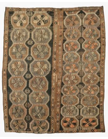 "Oversized Vintage Brown Turkish Kilim Rug - 12`10"" x 16`1"""