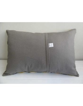 Yellow and black striped vintage klilim pillow