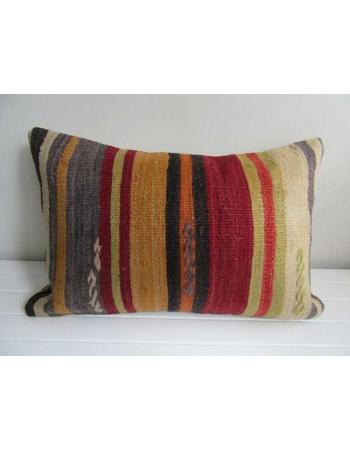 Vertical striped vintage kilim pillow cover