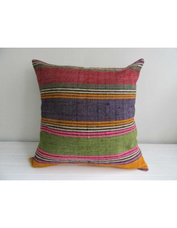 Colorful strped vintage Turkish kilim pillow