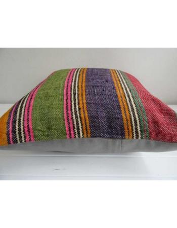 Colorful strped vintage Turkish kilim pillow
