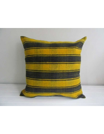 Yellow & Black striped Turkish kilim pillow