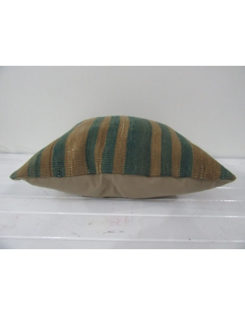 vintage minimal green striped kilim pillow cover